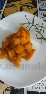 Stir fried pumpkin with rosemary